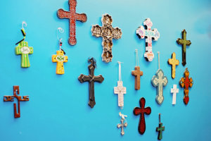 Cross hanging in the wall